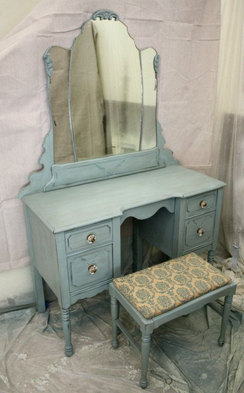 Antique Vanity set desk mirror and matching stool by cameobliss
