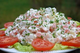 Ensalada de papas con camarones or shrimp potato salad