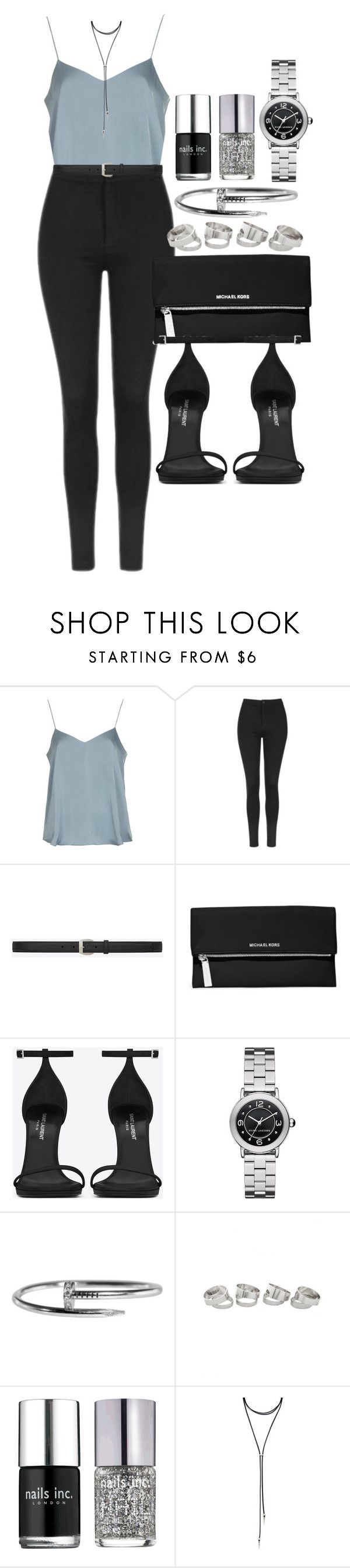 """Style #11114"" by vany-alvarado ❤ liked on Polyvore featuring Topshop, Yves Saint Laurent, MICHAEL Michael Kors, Marc Jacobs, Nails Inc. and Forever 21"