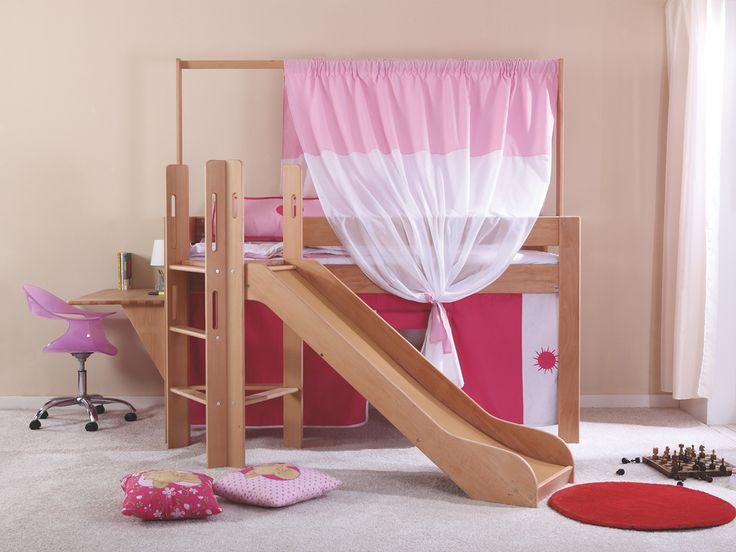 Łóżko dziecięce ze zjeżdżalnią