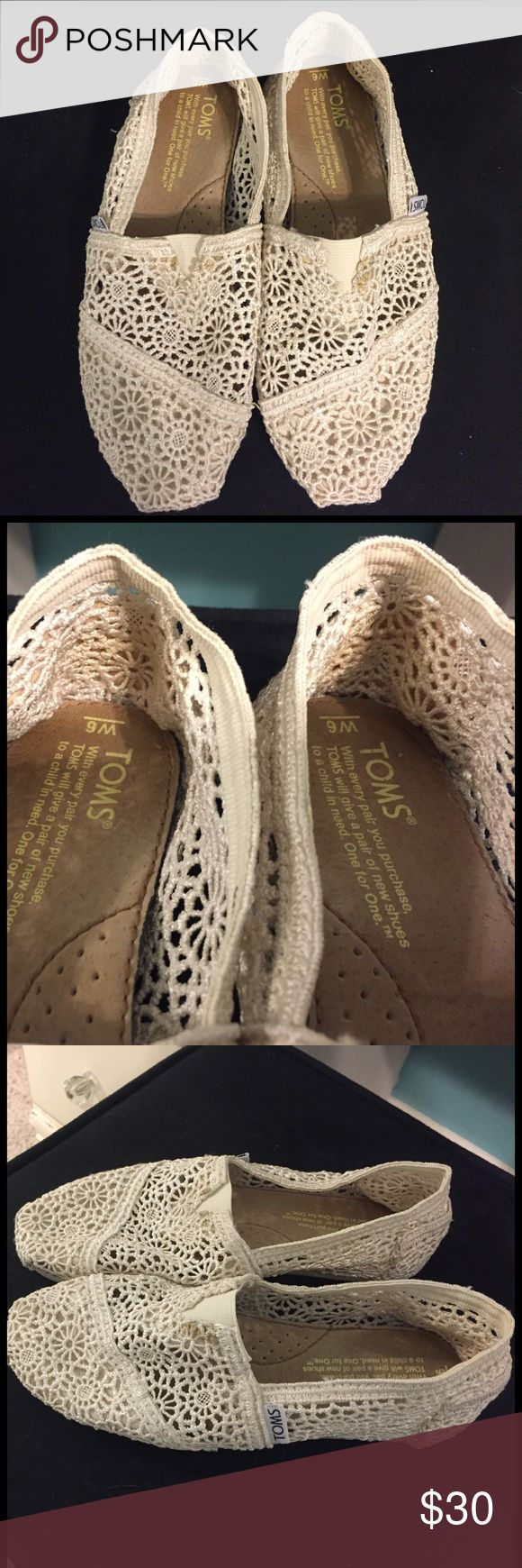 TOMS crochet shoes TOMS crochet off-white colored shoes. They are a size 6 and super comfortable. Still in good condition! TOMS Shoes Flats & Loafers
