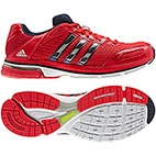 Adidas Supernova Glide in vivid red and metallic silver.