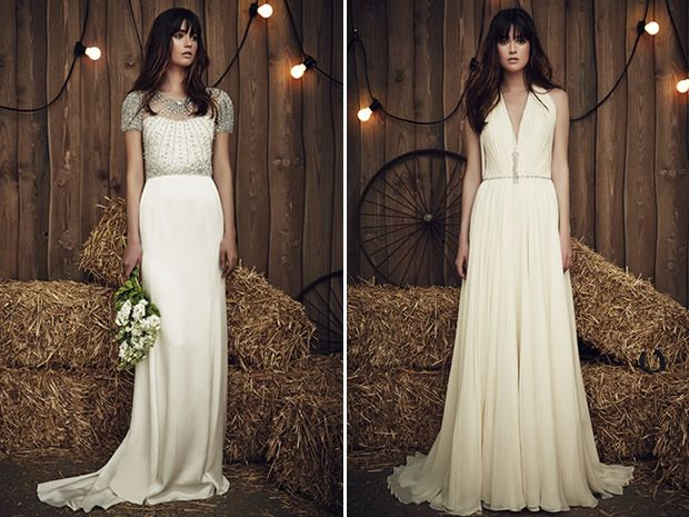Create a glamorous look on your #wedding day in the Carrie and Daisy dresses from Jenny Packham's 2017 bridal collection. #weddingdresses #countrywedding #bohobrides #bridalstyle