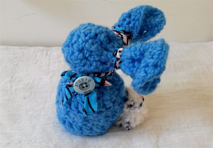 Come on our online shop Zuberlulu Etsy Shop to see Rizu, this cute blue crochet bunny.  Our first creation !  100% handmade  https://www.etsy.com/ca-fr/shop/Zuberlulu