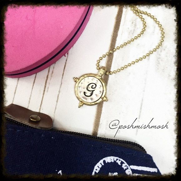 """🔴3 for $13🔴 LAST CHANCE Artisan Hammered Monogram G Necklace. I have other letters available - F, N , W. Two-tone artisan hammered monogram initial pendant on a trendy ball chain create this must-have necklace.  Approx. length is 15"""" + 3 inch extender with lobster clasp closure. 🔴ALL ITEMS WITH A RED DOT IN THE TITLE MAY BE BUNDLED 3 for $13.  Comment """"bundle"""" on the 3 items you would like for $13 and I will create a custom bundle listing. Additional """"3 for $13"""" items may be added for $3…"""