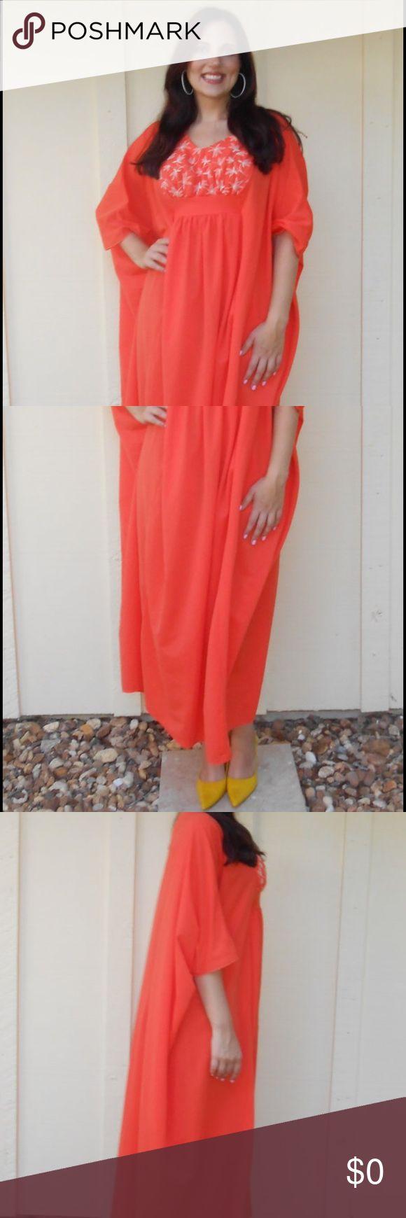 Vintage 70s orange /white embroidered caftan Description is in the last photo :).  Fabulous!  Perfect festival dress! Miss Elaine Dresses Maxi