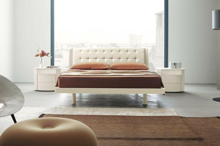 Camera da letto bianca 56 - letto Orio con coppia di comodini Diva | Napol.it