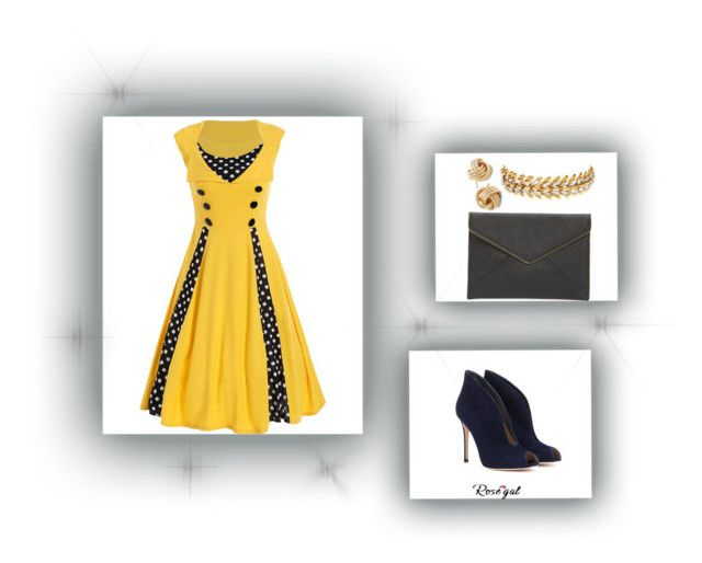 """""""#yellow"""" by zagojhe on Polyvore featuring moda, Gianvito Rossi, Elizabeth Cole, Saks Fifth Avenue, Rebecca Minkoff e vintage"""