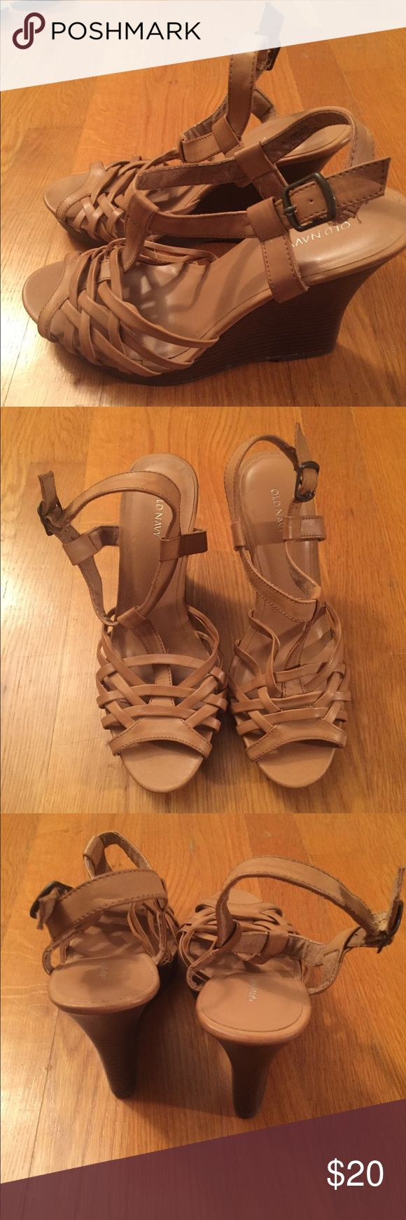 Old Navy wedge sandals Strappy brown wedge sandal from old navy. Never worn. Still has stickers on bottom. Old Navy Shoes Wedges