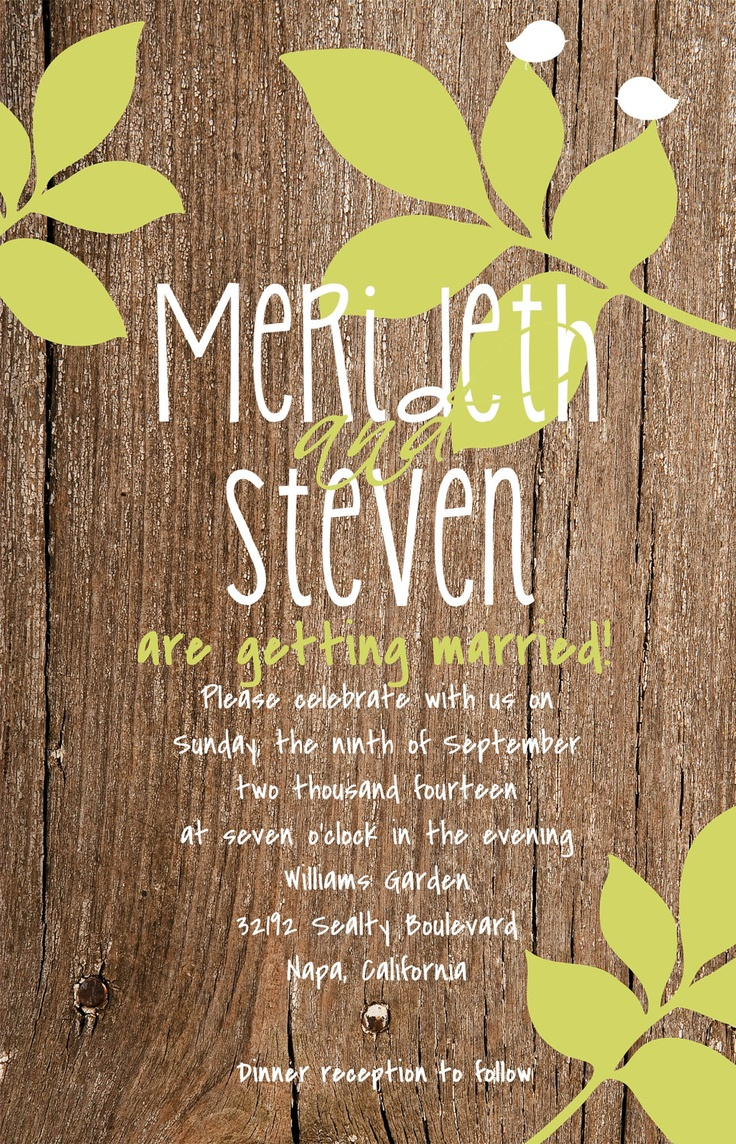 invitation letter for judging an event%0A Custom Wood and Leaves Wedding Invitation           via Etsy