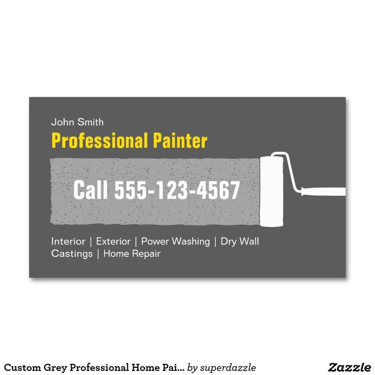 Custom Grey Professional Home Painting Business Card Template. A simple and elegant business card that is fully customized. You can change all colors of texts and background to make them perfect for your taste. Features a painting roller brush and is great for professional interior/exterior house painters, contractors, remodeling, maintenance ,residential companies. It's also great for a handyman business. A standard business card size.