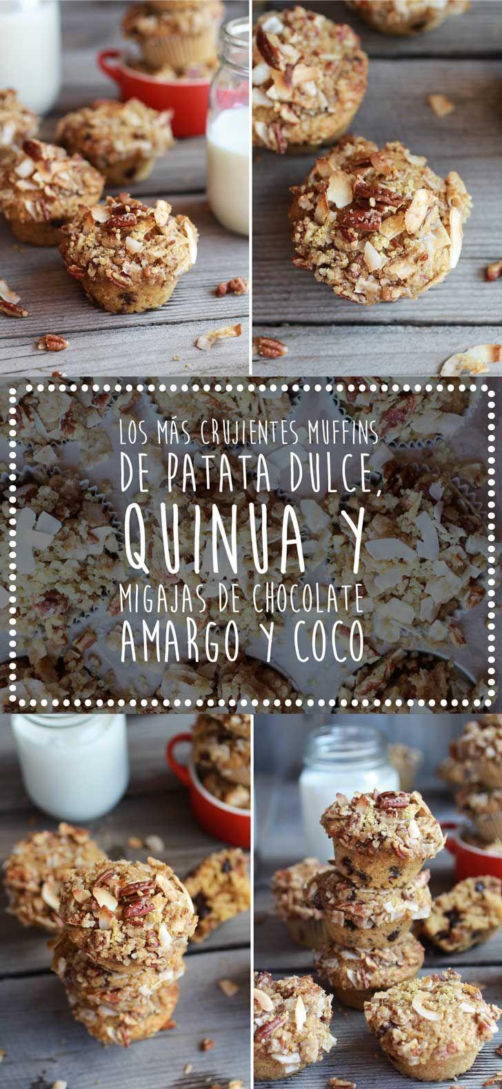 Los más crujientes muffins de patata dulce, quinua y migajas de chocolate amargo y coco