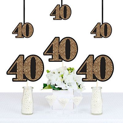 Adult 40th Birthday - Gold - Decorations DIY Party Essentials | BigDotOfHappiness.com