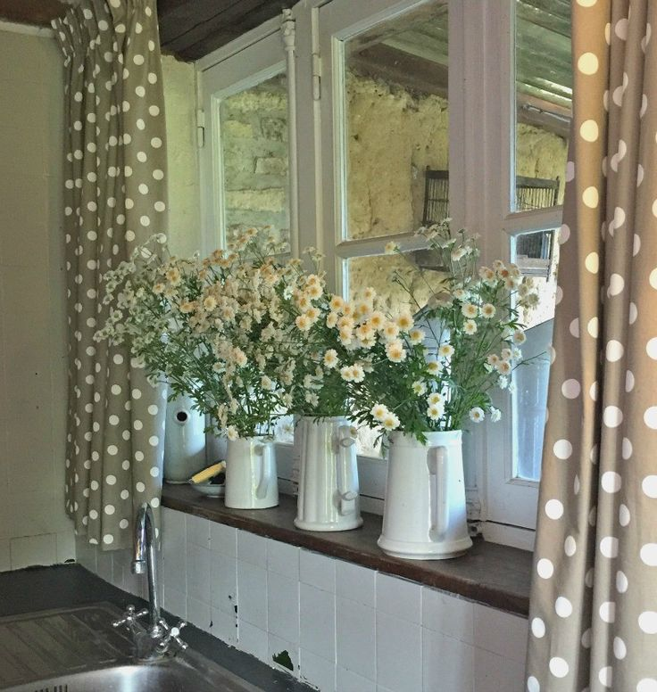 French country cottage kitchen - polka dot curtains!