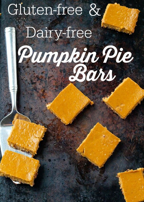 These Pumpkin Pie Bars will be the hit of your Thanksgiving dessert table! The gluten-free nut-based crust is delicious and they are dairy-free, too! Easy dessert recipe--low sugar.