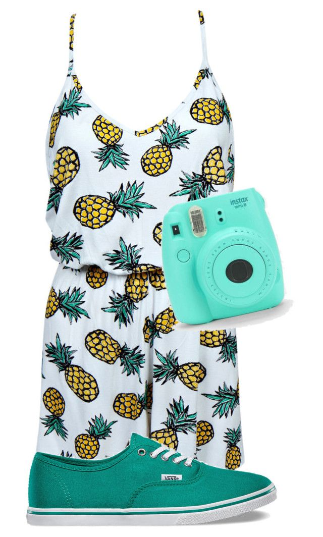 """""""Pineapple Romper"""" by designer22mia ❤ liked on Polyvore featuring Boohoo and Vans"""