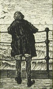 Girl at Railing, O. Muerker, circa 1923, woodcut, 2 5/16 in. x 1 3/8 in. Currier Museum of Art.