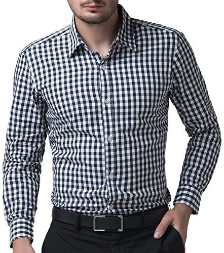Slim Fit Dress Shirts for Men Long Sleeve Plaid Formal Casual >>> You can  get additional details at the image link.