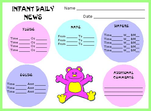 17 Best ideas about Daycare Daily Sheets on Pinterest | Infant ...