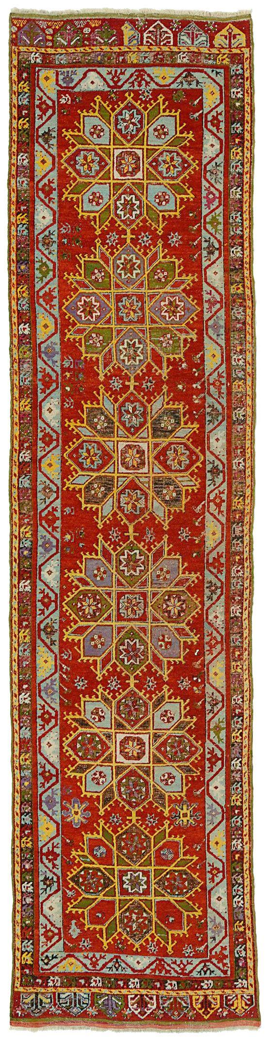 "ANTIQUE KIRSEHIR RUNNER  Turkey c1900     4.10m x 0.97m    13' 5"" x 3' 2""  I Robert Stephenson handmade carpets"