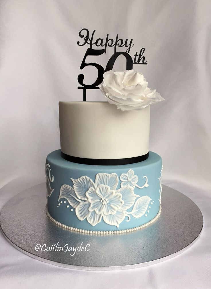 My Mother's 50th Birthday Cake | Delphinium Blue, Brushed Embroidery Flowers Chocolate Raspberry Mud Cake | 50th Cake Topper from www.originalcaketoppers.com @CaitlinJaydeC