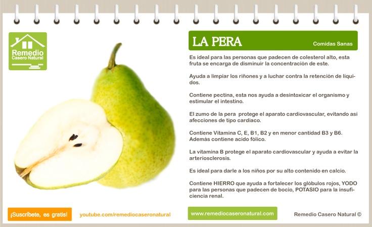 Conoce las grandes bondades de la pera, sus beneficios, sus nutrientes y sus grandes propiedades.