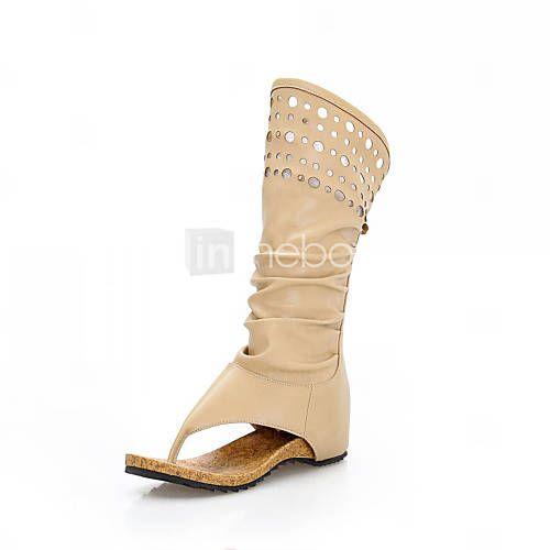 Стильный кожи плоский каблук середины икры сапоги с полым из партии / вечер обувь (больше цветов) - RUB p. 3 432,31