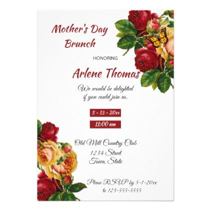 Mother's Day Brunch Vintage Roses Invitation - invitations custom unique diy personalize occasions
