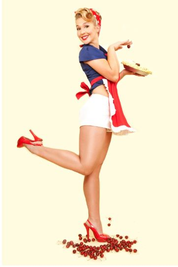 Love the hair and makeup and the kitchen pinup pose
