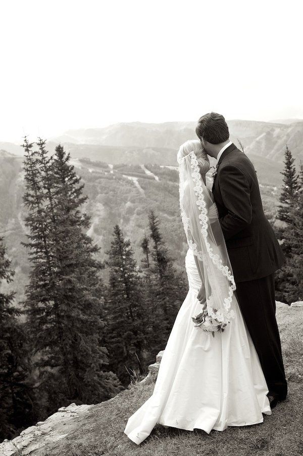 AMAZING!! I have decided i want a mountain wedding someday. And he wont have to clean shave- scruffy will fit right in :) ---Veil- Aspen Mountaintop Wedding from Ashley Garmon Photographers