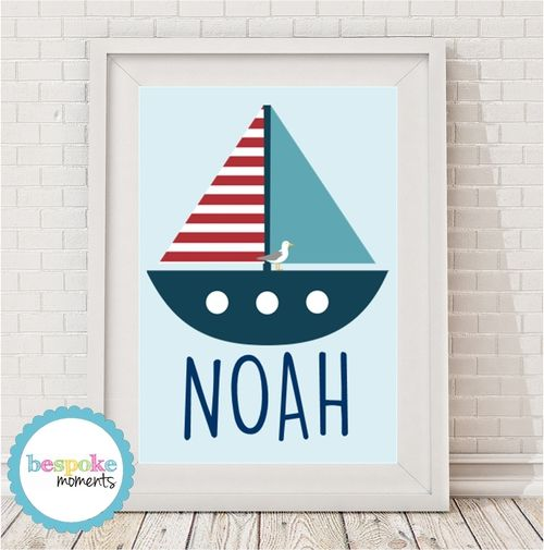 Nautical Boat Name Print by Bespoke Moments. Worldwide Shipping Available.