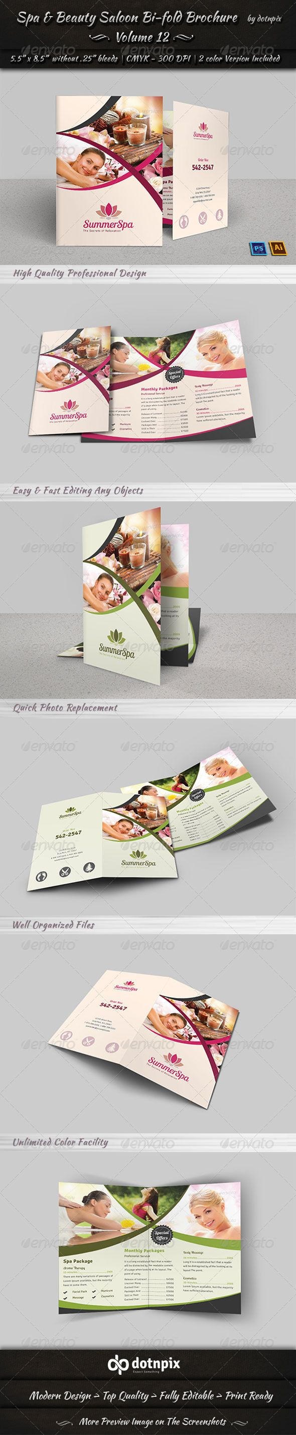 Spa U0026 Beauty Saloon Bi Fold Brochure | Volume 12
