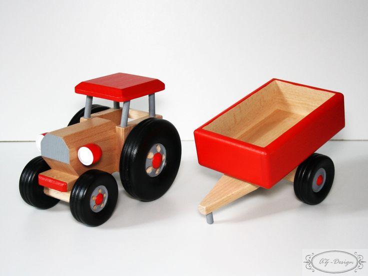 ce joli tracteur en bois color et vernis accompagn de sa remorque d tachable est un jouet. Black Bedroom Furniture Sets. Home Design Ideas