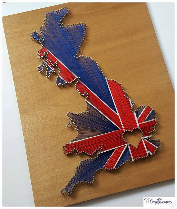 Personalised Gift, UK String Art, Union Jack, British Flag, Country String Art, United Kingdom, Home Decor, England Map, Country String Art. Check out this item in my Etsy shop https://www.etsy.com/uk/listing/263930601/personalised-gift-uk-string-art-union
