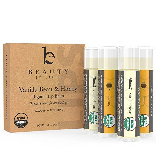 Lip Balm, USDA Organic, Vanilla Bean & Honey (4 pack), Pure and Natural Beeswax, Lip Butter with Aloe Vera & Vitamin E, Condition and Repair Dry Chapped Lips, Made in the USA ** Check this awesome image  : All Natural Skin Care