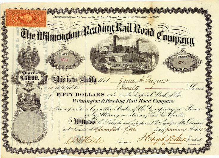 Wilmington and Reading Railroad Company, Aktie von 1869 + EXTREM SELTEN
