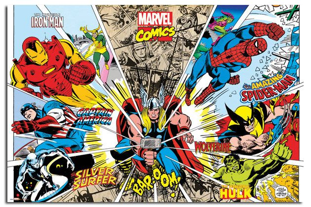Details about marvel comic superhero action large wall - Poster super heros ...