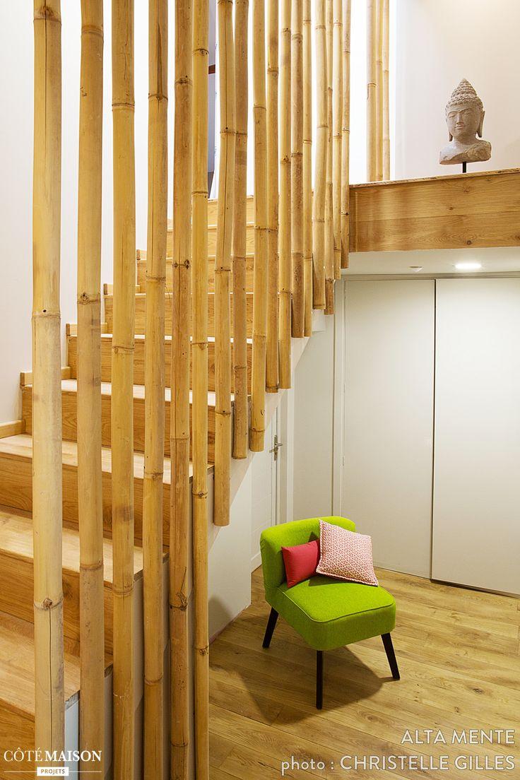 Une rampe en bambou accompagne cet escalier escaliers for Bambou en interieur