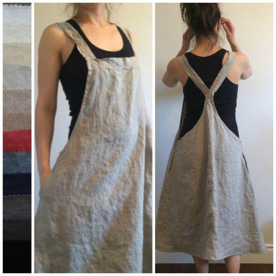 Linen Jumper Dress Apron Dress Overall Dress by MissesCountry