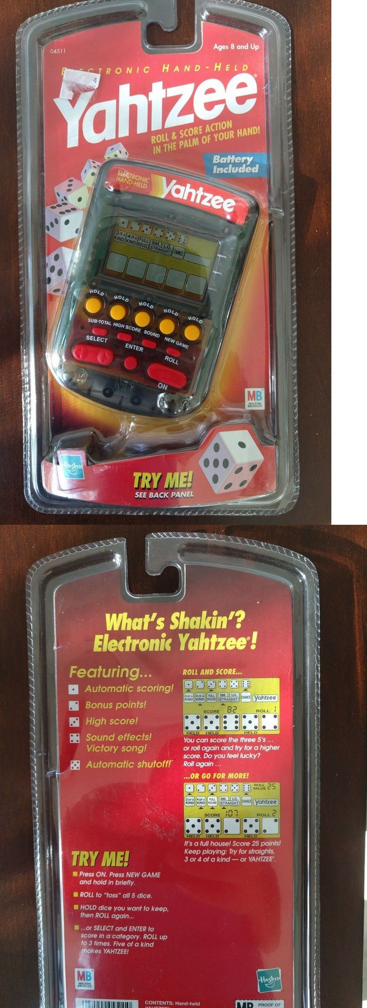 Electronic Games 2540: New *Rare* Electronic Handheld Yahtzee Game 1999 Clear Milton Bradley Hasbro -> BUY IT NOW ONLY: $38.95 on eBay!