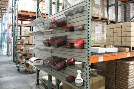 Creating organized space on warehouse racks with flow wall for Home construction organizer