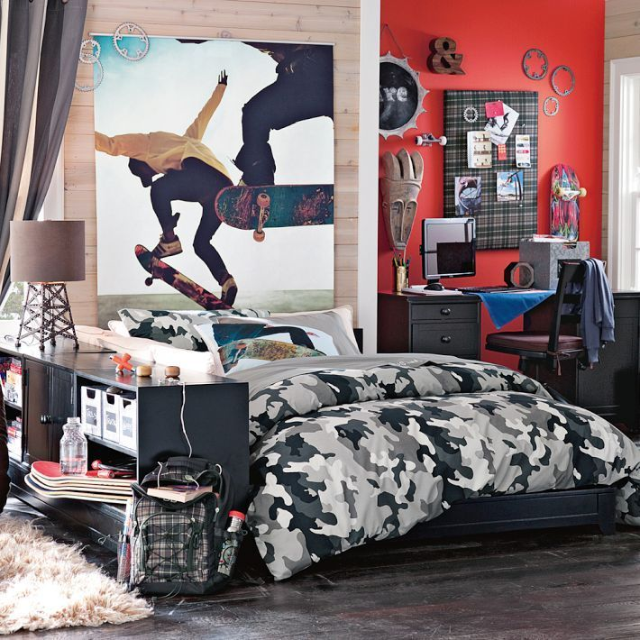 Image result for black white camo boys room