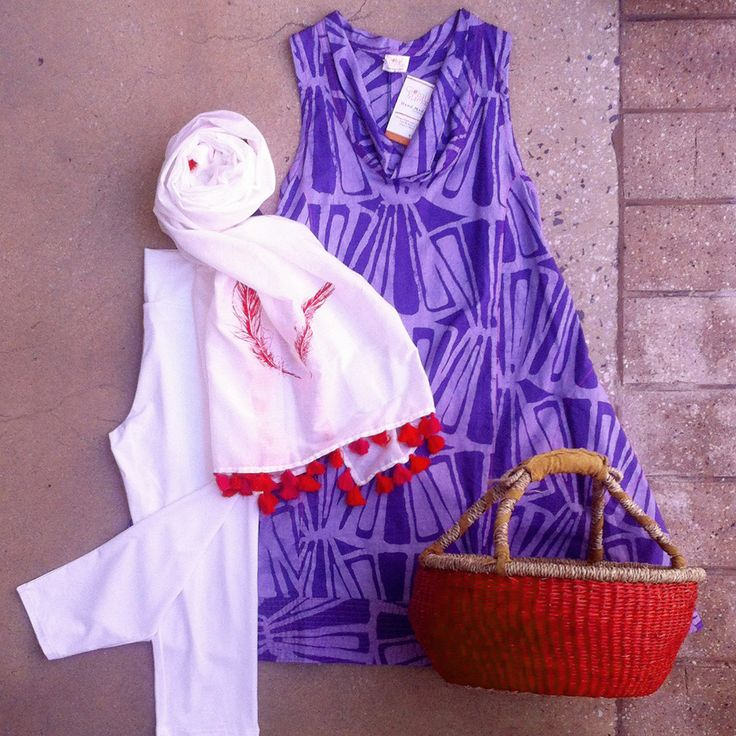 Purple & red make a great team! Set them off with a dash of white for a fresh summer look. Global Mamas Eli dress, Bamboo Body leggings a Violet Hartley scarf (for sunscreen) & fairtrade, handmade basket from Northern Vietnam