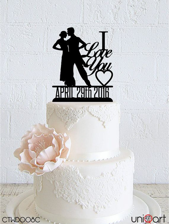 """Dancing Couple """"I Love You"""" Personalized Wedding Cake Topper, Customizable Date, Removable Stakes, Free Base for After Event, Gift CTWD008C"""