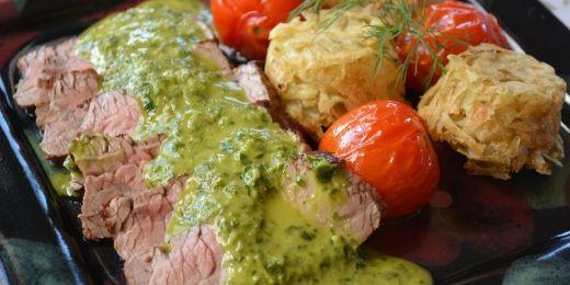Fantastic roast beef with emerald sauce