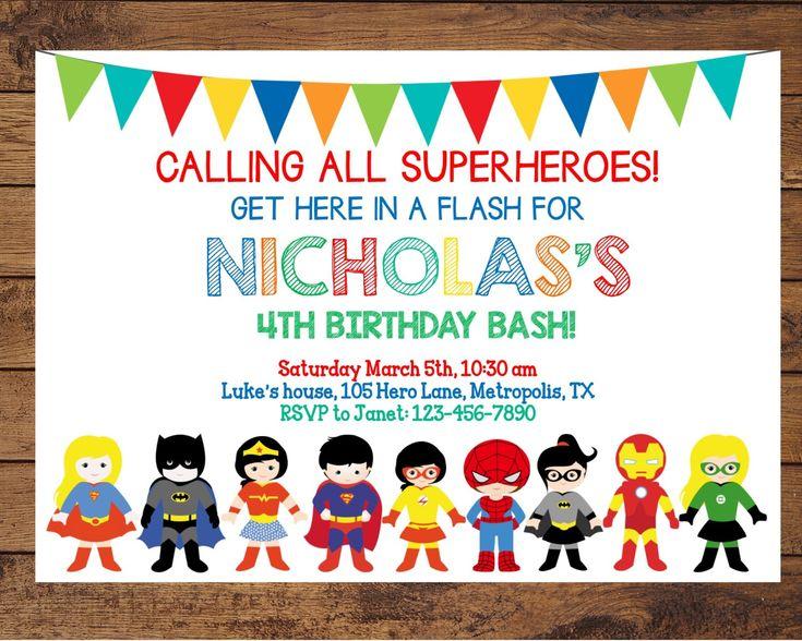 The 11 best Superhero Invitation images on Pinterest Superhero