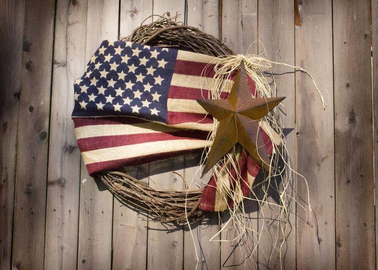 18'' Burlap American Flag Wreath