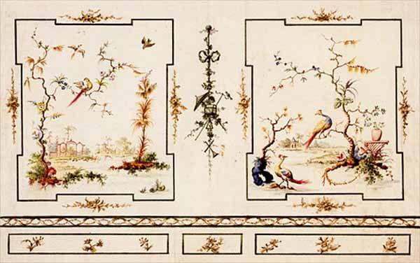 Wand met twee geschilderde chinoiserieën