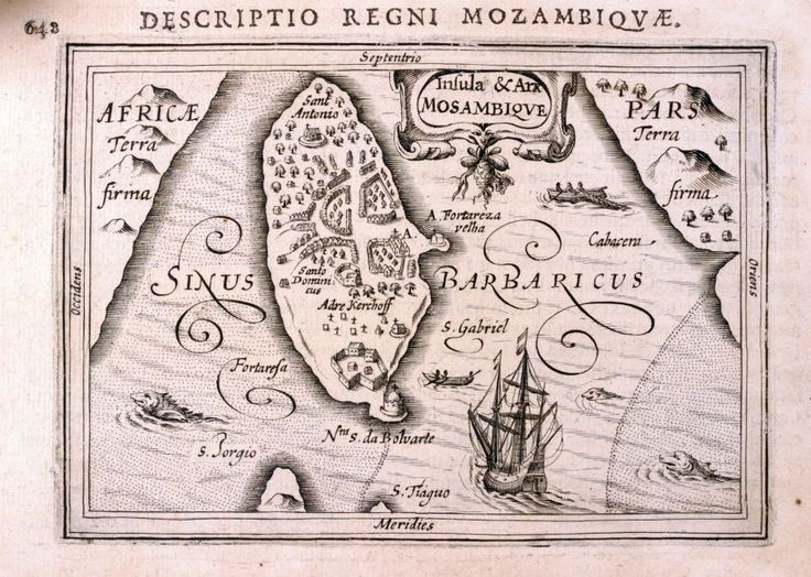 Insula & Arx Mosambique.  BERTIUS, Petrus.    Amsterdam, Judocus Hondius, 1616.     An uncommon miniature map of the island of Mosambique (Ilha de Moçambique). Highly decorated with a splendid sailing vessel, fishing boats, sea monsters....