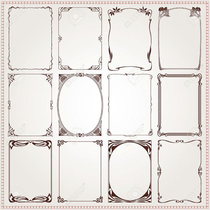 Decorative vintage borders and frames Art Nouveau style vector